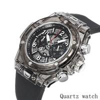 bracelets de calendriers achat en gros de-Nouvelle 2019 mode Marque Hommes regarder transparent bracelet de montre à l'extérieur de mouvement Quartz grand cadran Calendrier Montres de luxe Montres