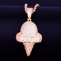 helados de calles al por mayor-Forma de helado de oro Collar Colgante Cuerda Cadena Cadera Cubic Zirconia Hip hop Street Rock de los hombres 2x1.1 Pulgadas