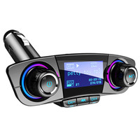 Wholesale music player resale online - Best bluetooth fm transmitter for car Radio Transmitter Adapter Music Player Hands Free Car Kit with USB Ports TF Card USB playback