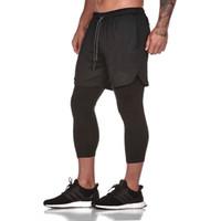 calças leggings venda por atacado-E-baihui 2019 novo 2 em 1 dos homens calf-comprimento calças calças gyms fitness apertado calças elásticas de secagem rápida leggings homens jogging terno l462
