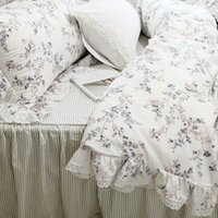 Wholesale elegant full bedding sets resale online - New garden pastoral bedding set European embroidery ruffle lace duvet cover elegant bed skirt bedspread princess bed clothes