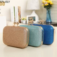 Wholesale blue handbag golden chain for sale - Group buy SPLJJILY Women Golden Evening Clutch Bag Fashion PU Shiny Square Handbags Popular Chain Ladyies Dinner Make Up Purse