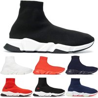 Wholesale mens breathable socks resale online - 2019 Designer Men Women Speed Trainer Luxury Sock Shoes Tripe Black White Red Glitter Flat Fashion Mens Trainers Runner Sneakers