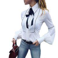 uzun camis toptan satış-2018 Kadın Üstleri ve Bluzlar Vintage Beyaz Yay O Boyun Uzun Kollu Gömlek Moda Ofis Lady Giyim Camisa Feminina
