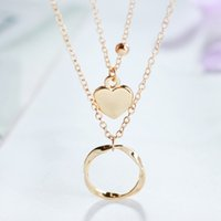 ожерелье ручной круг оптовых-Women Double Layer Heart And Circle Pendant Necklace Trendy Jewelry Female Handmade Charm Wedding Necklace&Pendants Gold Color