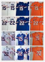 maillots de football florida gators achat en gros de-Tim Tebow Vintage Football Maillots NCAA Florida Gators cousu # 22 Emmitt Smith Floride Gators Jersey S-3XL