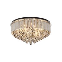 placa de techo de luz led al por mayor-Nueva lámpara de araña de cristal gris ahumado de lujo regulable que enciende las lámparas de araña de placa negra luces de techo lámparas led para el dormitorio de la sala de estar