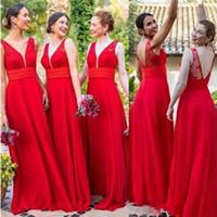 gasa junior vestidos de dama de honor rojos al por mayor-2019 Vestidos de dama de honor con cuello en V de gasa roja Vestido de invitados de boda sin respaldo barato Piso largo Vestidos de fiesta formales de fiesta de línea