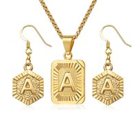 начальные серьги оптовых-Initial Letter A Z Jewelry Set For Women Gold Box Pendant Necklace Dangling Earrings Set Woman Accessories Gifts Creative DGSM01