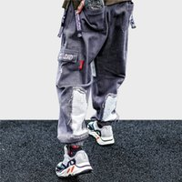 hip hop harem baggy al por mayor-Hombres Hip Hop Pantalones cargo Pantalones 2019 Pantalones harem Harajuku Streetwear HipHop Pantalones de mezclilla holgados Pantalones Tatical Moda desgastada