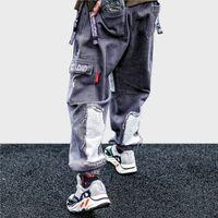 hip hop baggy harems calças venda por atacado-Homens Hip Hop Calças De Carga Calça 2019 Harem Pants Harajuku Streetwear Hip Hop Pant Baggy Denim Calças Calças Afligido Moda