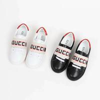 crianças sapatos de couro para menina venda por atacado-Sapato de skate para o miúdo menina branco correndo moda sapato sapatilhas menino sapatos de designer de couro preto Eu 26-35