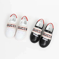 ingrosso cuoio nero dei ragazzi-Scarpe da skateboard per bambina bianca scarpe da corsa moda bianca scarpe da ginnastica ragazzo nero in pelle Eu 26-35