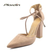 Wholesale sexy strappy green heels for sale - Plardin Colors Pointed Strappy Pumps Sexy Retro High Thick Heels New Woman Female Lace Up