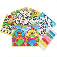 Wholesale drawing paper art resale online - 1Pc Cartoon Kids DIY Color Sand Painting Art Creative Drawing Toys Sand Paper Art Crafts Toys for Children