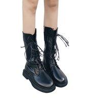 pu tüpleri toptan satış-2019 Sonbahar Kadın Düşük Topuklu Ayak Bileği Çizmeler Moda Dantel-Up Orta Tüp Şövalye Kış Çizmeler Botas Mujer için Açık Martin