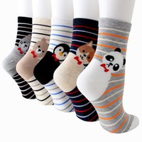 ingrosso calzini da donna-5 paia Womens Cute Animal Socks Colorful Funny Soft Comfort fantasia Cotton Casual Novità Crew Socks