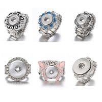 anel ajustável de 18mm venda por atacado-Noosa vintage botão snap anéis corda elástica ajustável 12 mm 18 mm pedaços de botão de pressão de gengibre para mulheres homens jóias presente de natal