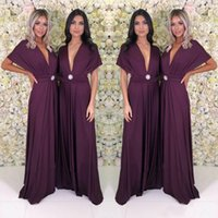 Wholesale red cap sleeve long dress for sale - Group buy Long Party Dress Cheap Boho Deep V Neck Bridesmaid Formal Evening Gowns A Line Plus Size Maid of Honor