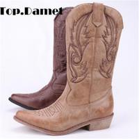 diz boyu kızlar için çizmeler toptan satış-Top.Damet Kadınlar Diz Cizme Deri Kovboy Cowgirl Boots Sivri Burun Kayma-On Batı Kız Motosiklet Ayakkabı Kadın Bayanlar