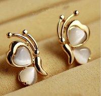 pernos prisioneros del oído al por mayor-Opal Butterfly Ear Stud Pendientes Ear Pin Xmas Gift Stud Earriing
