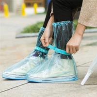 pvc regen tragen großhandel-Wasserdichte Überschuhe PVC Anti-Rutsch-wiederverwendbare RainShoe-Regenstiefel mit Reißverschluss Überschuhe Wasserdichte, abriebfeste, regnerische Schuhe