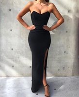Wholesale 2019 Newest Black Mermaid Prom Dresses Sexy Side Slit Floor Length Strapless Formal Evening Wear Plus Size Custom Made Cocktail Party Dress
