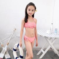 16 ropa de niña al por mayor-7-16 años chicas grandes del traje de baño de las borlas del rhinestone niños bikini niños fijados ropa de playa chica del traje de baño del verano