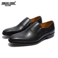 обувь для бизнеса оптовых-Heels Mens Loafers Genuine Leather Casual Shoe Italian Style Brown Black slip-on dress shoes business office men shoes FELIX CHU
