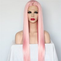 Wholesale straight pink cosplay wig online - Natural Hairline Glueless inch Pink Long Silky Straight Wigs Middle Part High Temperature Synthetic Lace Front Wig Cosplay Wigs For Women