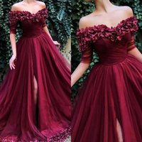 Wholesale modern line dress patterns for sale - 2019 New Sexy Burgundy Evening Dresses Wear Off Shoulder Hand Made Flowers A Line Front Split Plus Size Party Pageant Prom Gowns
