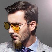 lentes amarillas al por mayor-Gafas de sol de aviación Hombres Mujeres Gafas de conducción de automóviles Gafas de visión nocturna Piloto Diseñador de la marca Lentes amarillas Gafas de sol 2019 UV400