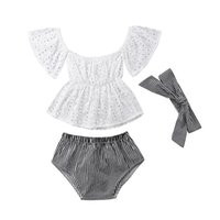 головные уборы для малышей оптовых-Малыш девочка одежда набор кружева с коротким рукавом топ + полоса шорты +руководитель группы детская одежда 3 шт.