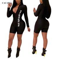 ingrosso tuta della tuta del nero delle signore-2019 Body nero Bodycon Tuta Sexy Body per donna Body manica lunga Summer F0309 Deep V Neck Brief Style