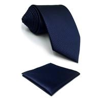ca00faafca67 F20 Navy Solid Mens Neckties Set Classic Business Xlong Silk Gift Pocket  Square Dress