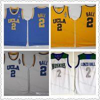 camisas blancas de china al por mayor-Lonzo de calidad superior de la bola camisetas # 2 UCLA Bruins azul de la universidad cosido luz blanca Chino Hills Huskies de secundaria camisas de los jerseys del baloncesto