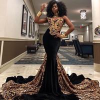 vestidos de moda para ocasiões especiais venda por atacado-2020 Moda ouro lantejoulas Mermaid Prom Dresses V Neck Sul Africano Preto Meninas Evening Vestidos Plus Size ocasião especial Vestido Abendkleider