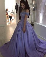 Romantic Lavender Cheap Quinceanera Prom Dresses 2019 Long Off Shoulder 3d Flowers Applique Beaded Satin Sweet 16 Dress Vestidos 15 Anos