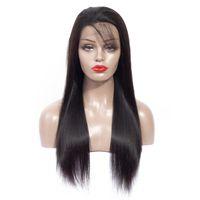 natürliche echte lange haar perücke großhandel-360 mittel-langes Haar durchlässiger heißer Spitzekopf gesetzte Perücke des geraden Haares echte Perücke 8-20 Zoll 1B natürliche Farbe
