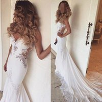 vestido crsytal venda por atacado-Sereia Abrir Voltar Crsytal Frisado Luxo Sexy Longos Vestidos de Casamento 2018 Nova Moda Vestidos De Casamento Custom Made