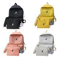 bolsa de la escuela coreana al por mayor-4 unids / set lienzo impreso mochila amarilla mochila portátil bolsas de hombro bolsos de la pluma estilo coreano estudiantes bolsa de viaje bolsa de escuela niñas