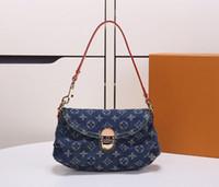 bf68b3343d087 beutel stoff denim großhandel-New style limited vintage denim Pleaty  Einzelner schulterbeutel Jeans Blaue Schultertasche