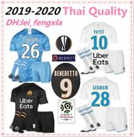 conjunto completo de camisolas de futebol venda por atacado-2019 Olympique de Marseille camisa de FUTEBOL Benedetto adulto KIT COM MEIAS OM camisa dos homens conjunto completo 10 PAYET 19 L.GUSTAVO Maillot de pé OM