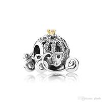 charmes d'affirmation achat en gros de-Authentique 925 citrouille en argent sterling Charms voiture Logo boîte originale pour Charms Bracelet Pandora Perles européennes pour la fabrication de bijoux