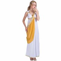 frauen griechische göttin kostüm großhandel-Frauen Sexy Griechische Göttin Römische Dame Ägyptischen Kostüm Cosplay Weiß Jumpsuit Robe Fancy Dress für Weibliche Erwachsene Halloween Kostüme