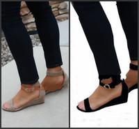 sapato de verão cunha preta venda por atacado-Única fivela sapatos de verão sandálias de salto de inclinação para a senhora cáqui preto simples moda diária não cansado pés cunhas 30slD1
