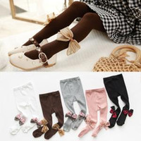 Wholesale bow socks for girls resale online - Bow Girls Pantyhose Tights dress socks girl socks Baby leggings Kids Blends Stockings for Girls Dance Tights pants FFA1630