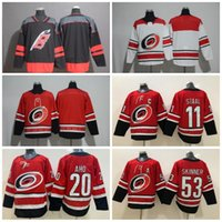 maillots de hockey rouges noirs vierges achat en gros de-Hommes 20 Sebastian Aho 53 Jeff Skinner Jersey New Season 11 Staal Carolina Hurricanes Maillot Rouge Blanc Noir Blanc Maillots De Hockey Pas Cher