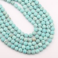 круглые бусины 12 мм оптовых-Natural Stone  Matte Blue Turquoises Round  for Jewelry Making Pick Size 4 6 8 10 12 14 mm 15.5 inches
