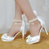 vestidos para o casamento fechado venda por atacado-Casamento Marfim Branco Mulheres Calçados nupcial noiva com tira no tornozelo dos saltos altos da plataforma sapatos de mulher vestido de cetim senhoras Bombas Closed ToeMX190917
